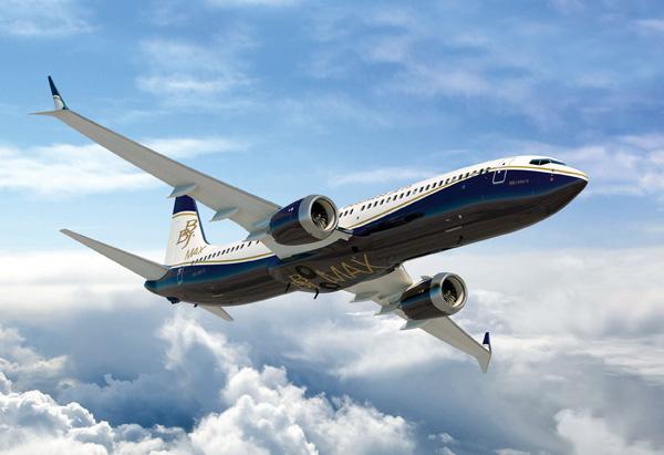 avion bbj max9 volando