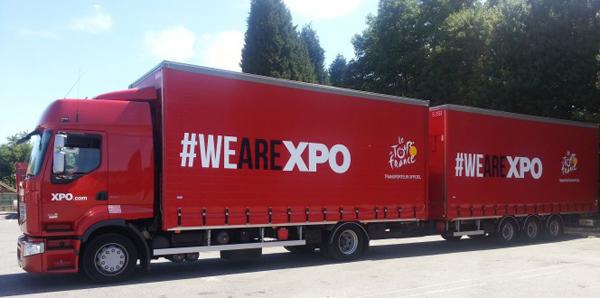 camion de XPO logistcs para el Tour de Francia