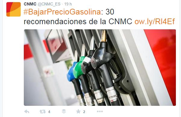 CNMC-tuit-precio-gasolina