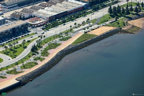 El Paseo del Puerto de Huelva incluirá instalaciones deportivas, restauración y ocio.